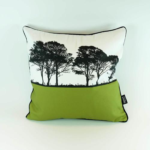 Square cotton cushion by Jacky Al-Samarraie. Landscape design in green.