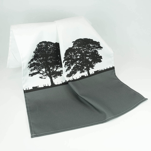 Grey cotton landscape tea towel by Jacky Al-Samarraie