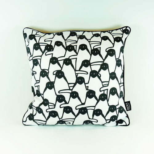 Penguin cotton cushion by Jacky Al-Samarraie