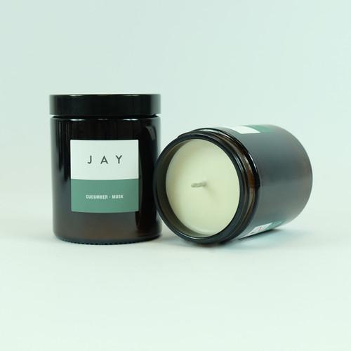 Cucumber & Musk candle jar. Vegan candle by Jacky Al-Samarraie