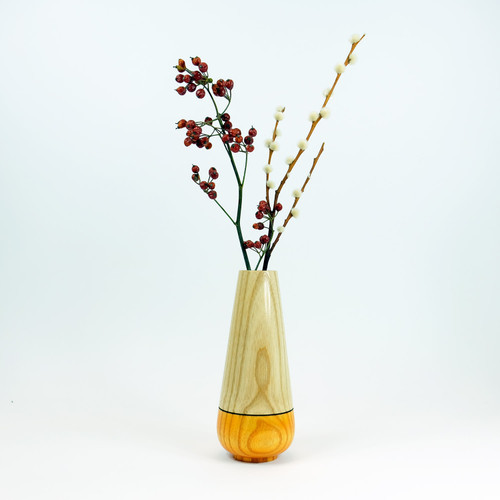 Orange tear drop wood stem vase by designer Jacky Al-Samarraie