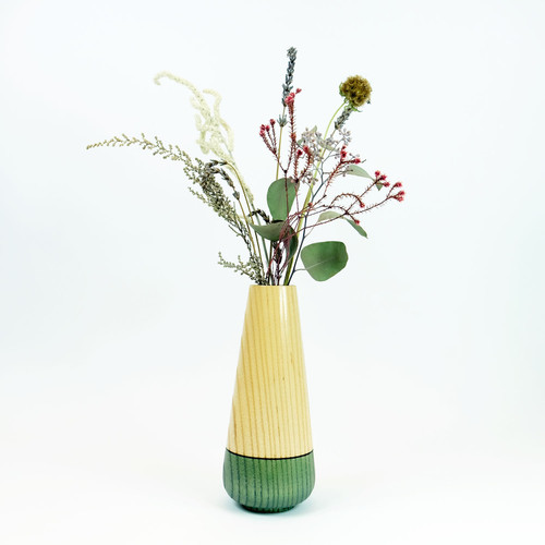 Teal tear drop wood stem vase by designer Jacky Al-Samarraie