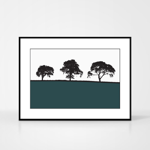 Landscape print of Carlisle in Cumbria, England by designer Jacky Al-Samarraie.  The print colour is shown as teal but comes in many other colours.  The print is shown in a frame for reference but comes unframed.