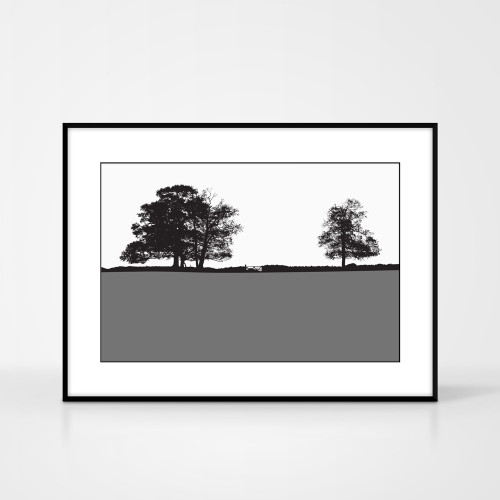 Landscape print of Windermere in the Lake District, England by designer Jacky Al-Samarraie.  The print colour is shown as grey but comes in many other colours.  The print is shown in a frame for reference but comes unframed.
