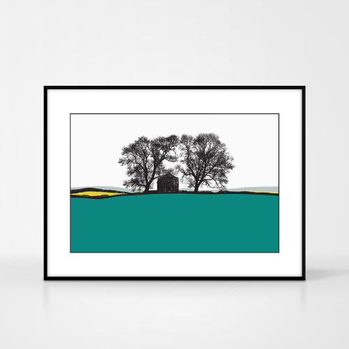 Landscape print of Conistone in the Yorkshire Dales, England by designer Jacky Al-Samarraie.  The print colour is turquoise and yellow..  The print is shown in a frame for reference but comes unframed.