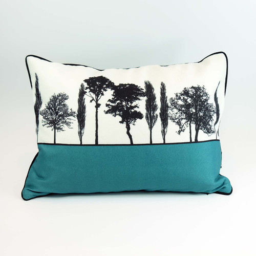 British landscape cushion in teal by designer Jacky Al-Samarraie