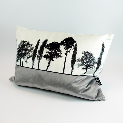 Grey Velvet Landscape cushion by Jacky Al-Samarraie