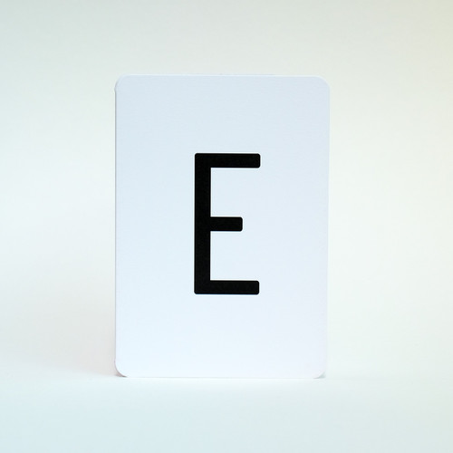 Alphabet letter E greeting card by Jacky Al-Samarraie