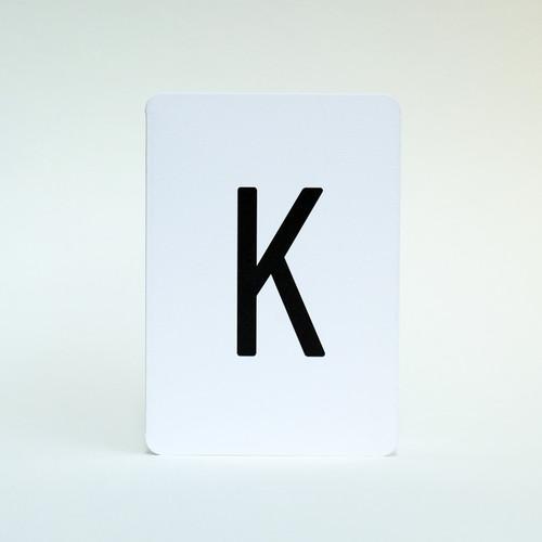 Alphabet greeting card letter K by Jacky Al-Samarraie