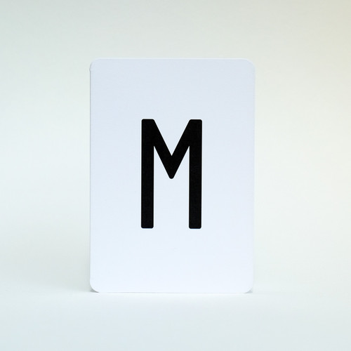 Letter M alphabet card by Jacky Al-Samarraie