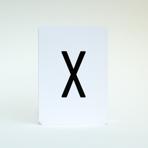 Letter X alphabet greeting card by Jacky Al-Samarraie