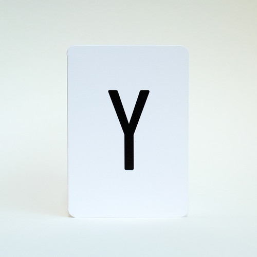 Alphabet greeting card letter Y by Jacky Al-Samarraie
