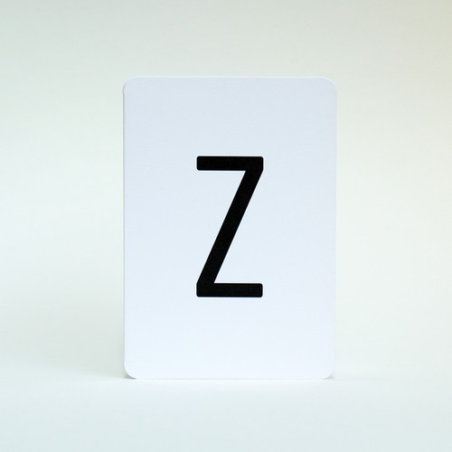 Letter Z alphabet greeting card by Jacky Al-Samarraie