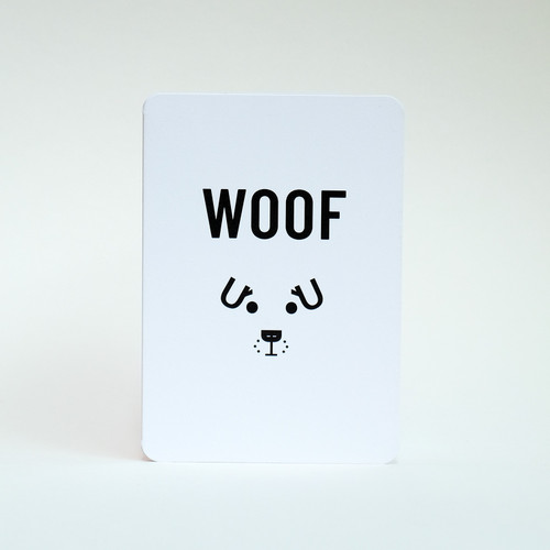 Woof dog face greeting card by Jacky Al-Samarraie