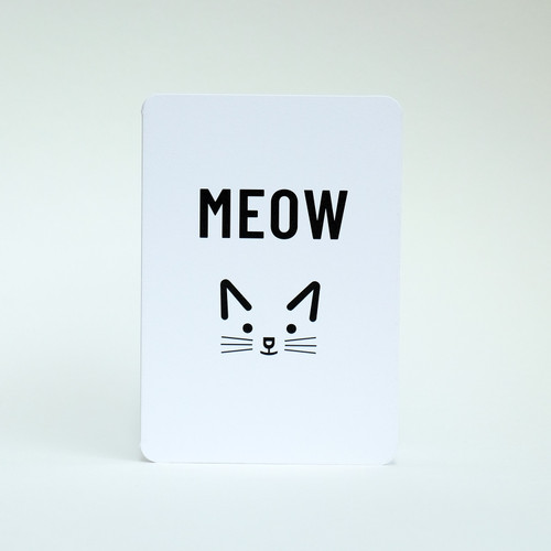 Meow cat face greeting card by Jacky Al-Samarraie