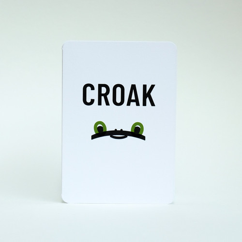 Croak Frog face greeting card design by Jacky Al-Samarraie.