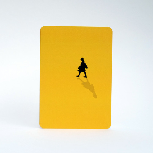 Silhouette of a woman in mustard greeting card by Jacky Al-Samarraie