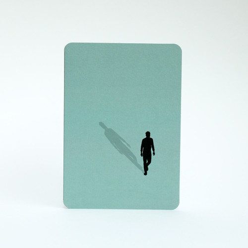 Man walking silhouette greeting card by Jacky Al-Samarraie