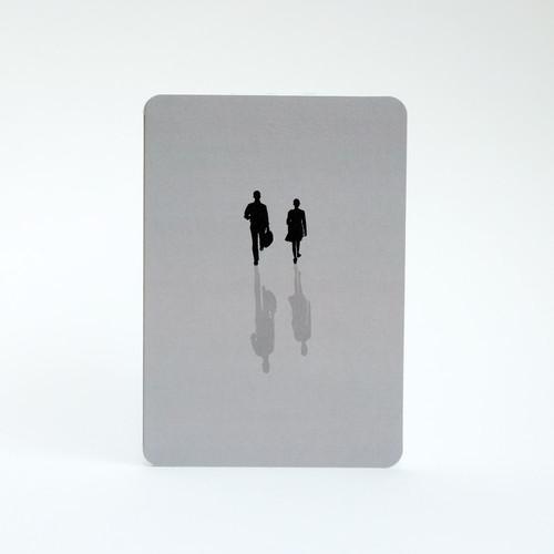 Grey silhouette people card by Jacky Al-Samarraie
