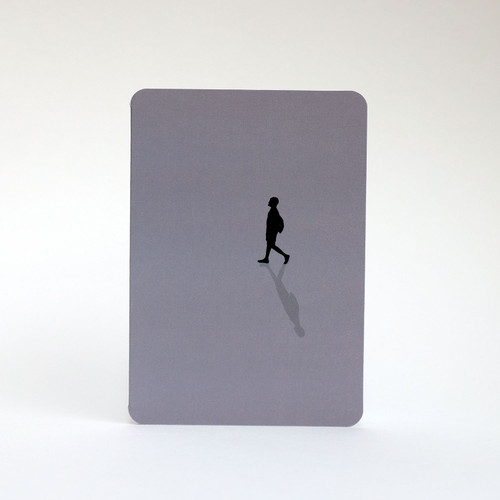 Man walking silhouette greeting card by Jacky Al-Samarraie