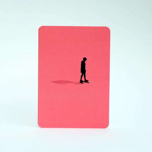 Skateboarder silhouette greeting card by Jacky Al-Samarraie
