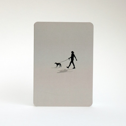 Grey whippet dog walking greeting card by Jacky Al-Samarraie