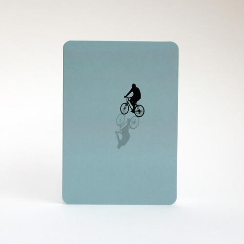 Cyclist silhouette greeting card by Jacky Al-Samarraie
