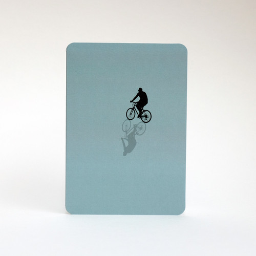 Cyclist silhouette greeting card by Jacky Al-Samarraie