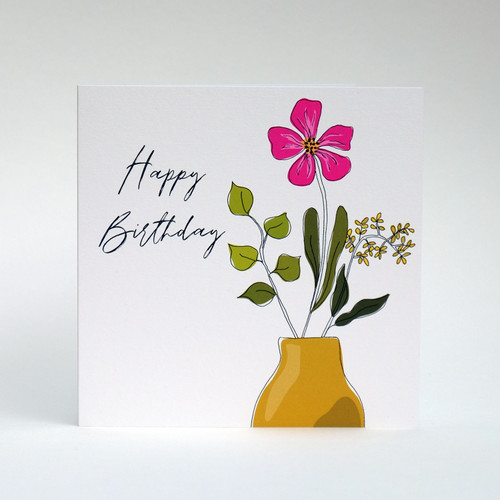 Floral Happy Birthday card with mustard vase by Jacky Al-Samarraie