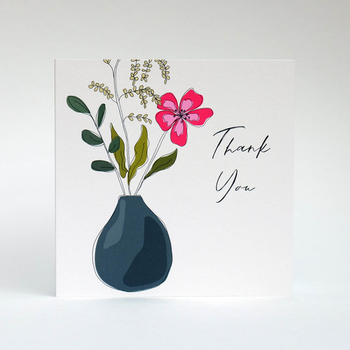Floral thank you card with blue vase by Jacky Al-Samarraie