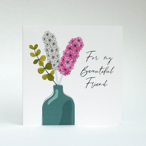 Floral Happy Birthday Card Friend with blue vase by Jacky Al-Samarraie