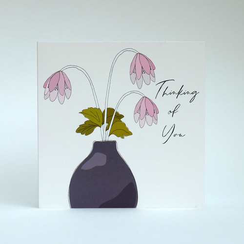 Floral Thinking of You greeting card with blue vase by Jacky Al-Samarraie