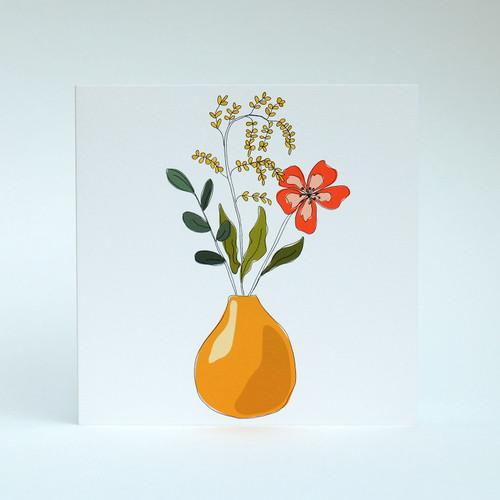 Floral Blank greeting card with mustard vase by Jacky Al-Samarraie