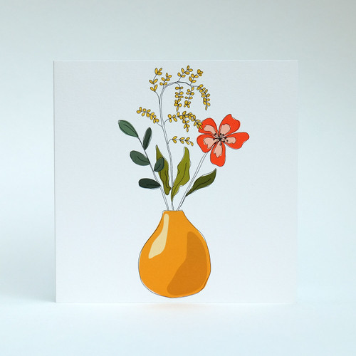 Floral Blank greeting card with mustard vase by Jacky Al-Samarraie