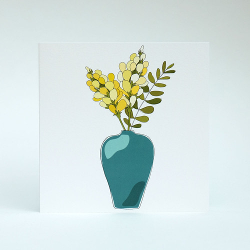 Yellow Floral Blank greeting card with teal vase by Jacky Al-Samarraie