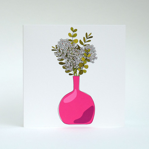 White Floral Blank greeting card with bright pink vase by Jacky Al-Samarraie