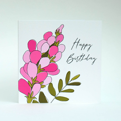 Pink floral Happy Birthday greeting card by Jacky Al-Samarraie