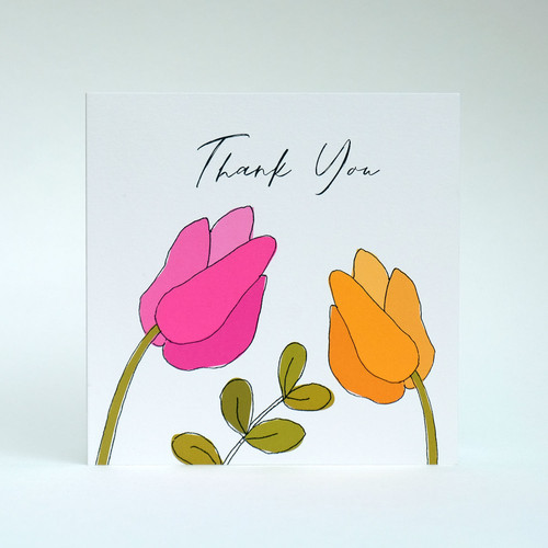 Pink & yellow floral thank you card by Jacky Al-Samarraie