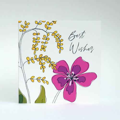 Pink floral Best Wishes greeting card by Jacky Al-Samarraie