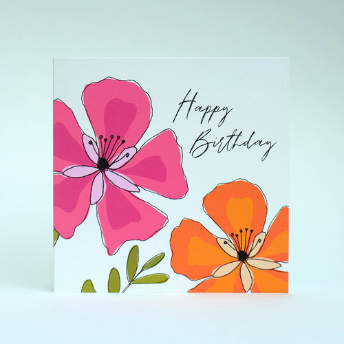 Pink & orange floral Happy Birthday greeting card by Jacky Al-Samarraie