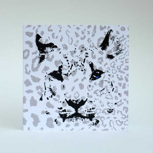 Snow Leopard greeting card by Jacky Al-Samarraie