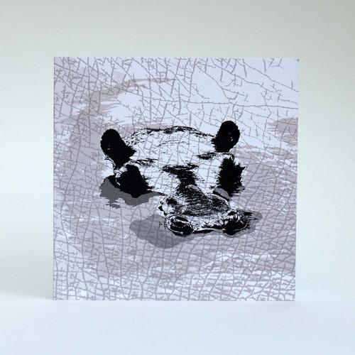 Hippo greeting card by Jacky Al-Samarraie