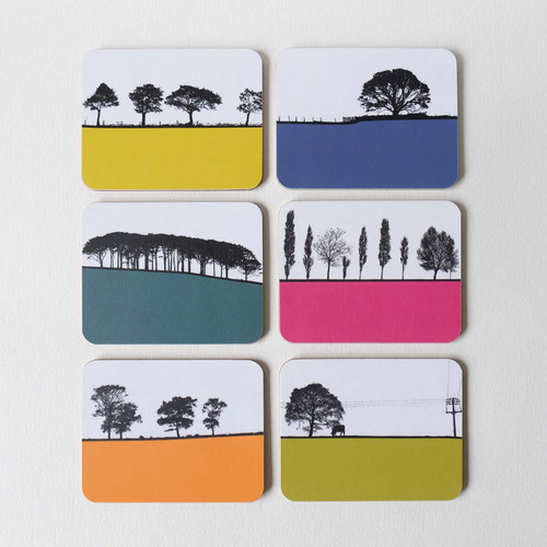 Set of 6 tree landscape drinks coasters by Jacky Al-Samarraie