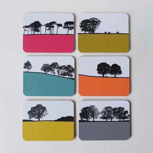 Boxed gift set of 6 rural landscape coasters by Jacky Al-Samarraie