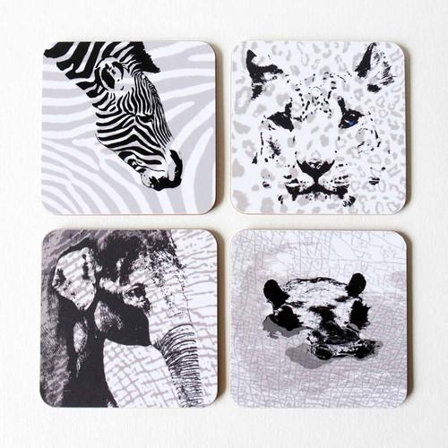 Zebra, Snow Leopard, Elephant & Hippo coaster set by Jacky Al-Samarraie