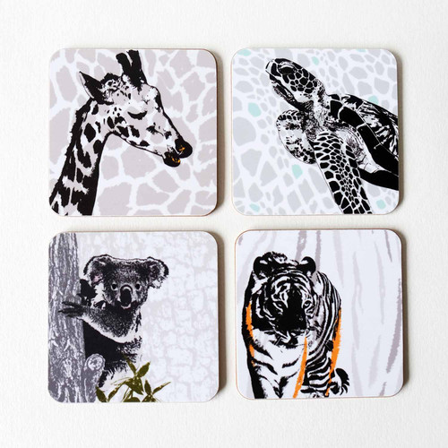Giraffe, turtle, koala & tiger wild animal coaster set by Jacky Al-Samarraie