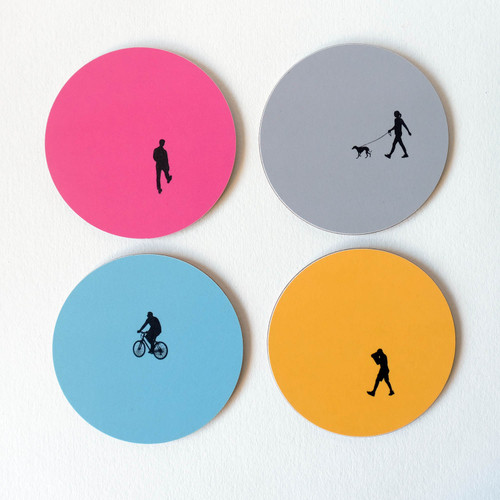 People silhouette round coaster set by Jacky Al-Samarraie