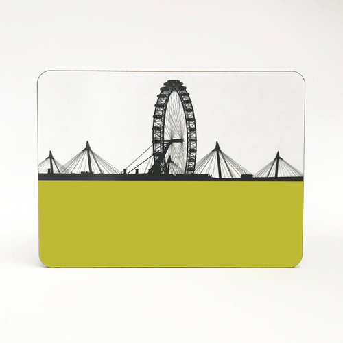 London Eye Cityscape Table Mat by Jacky Al-Samarraie