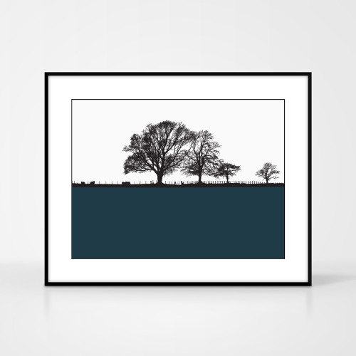 Landscape print of Cockermouth in the Lake District by designer Jacky Al-Samarraie.  Shown in frame for reference.