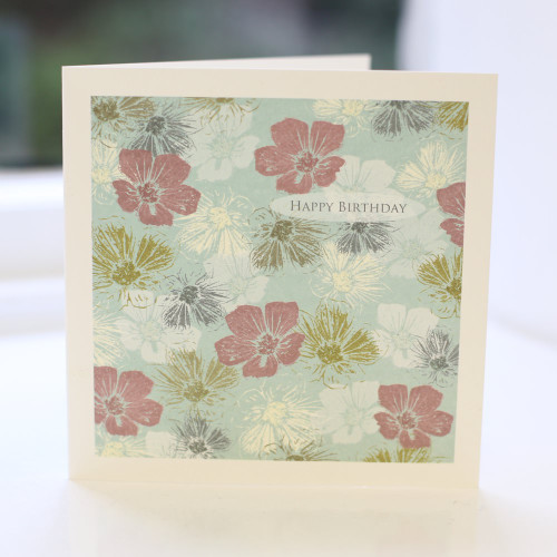 Jacky Al-Samarraie Blue Floral Birthday Card